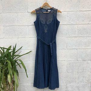 Vintage Denim Maxi Dress Size 10